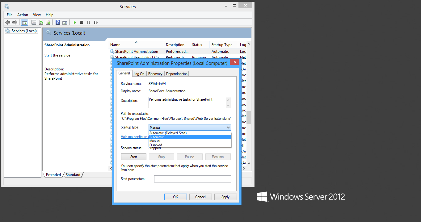 Autostarting the SharePoint Administration Service