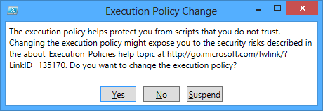 Changing the execution policy