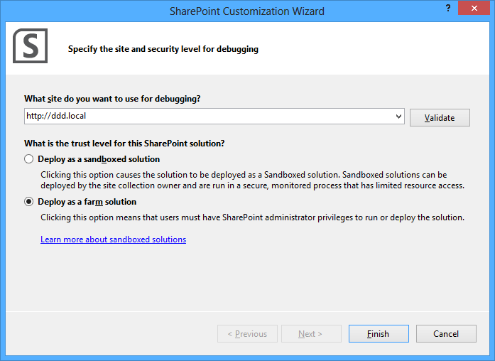 Configuring the SharePoint project