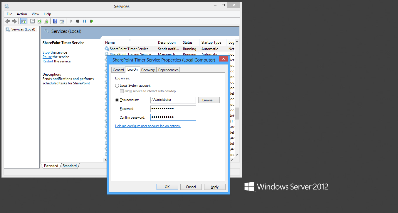 Configuring the SharePoint Windows services