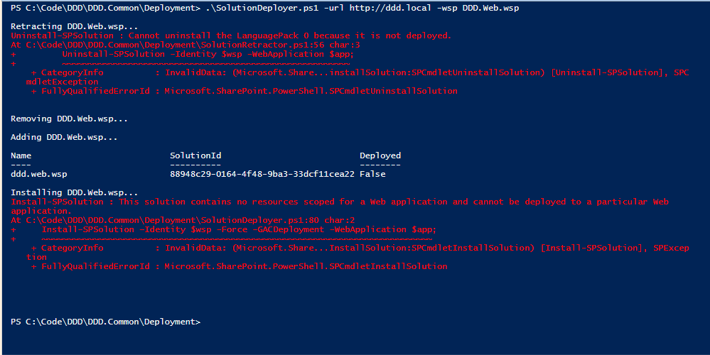 Getting PowerShell web application scope errors