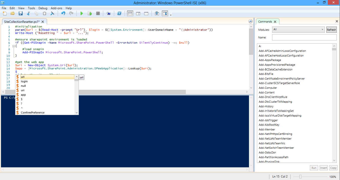 Loving PowerShell ISE IntelliSense