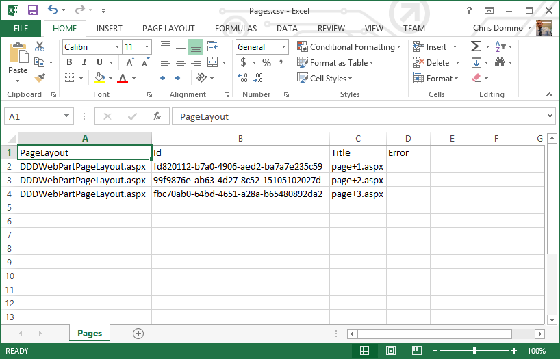 Viewing the Data Creator output in Excel