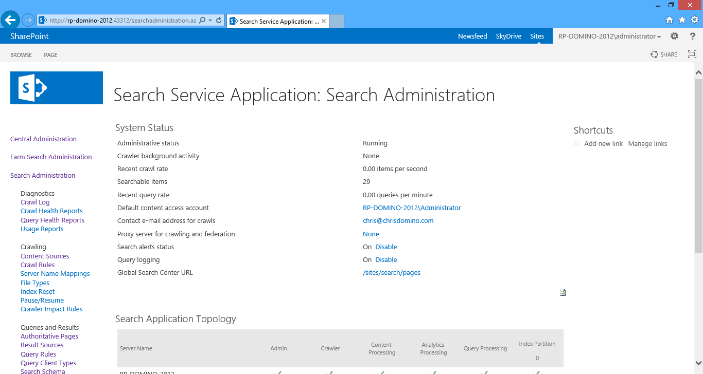 Viewing the Search service application