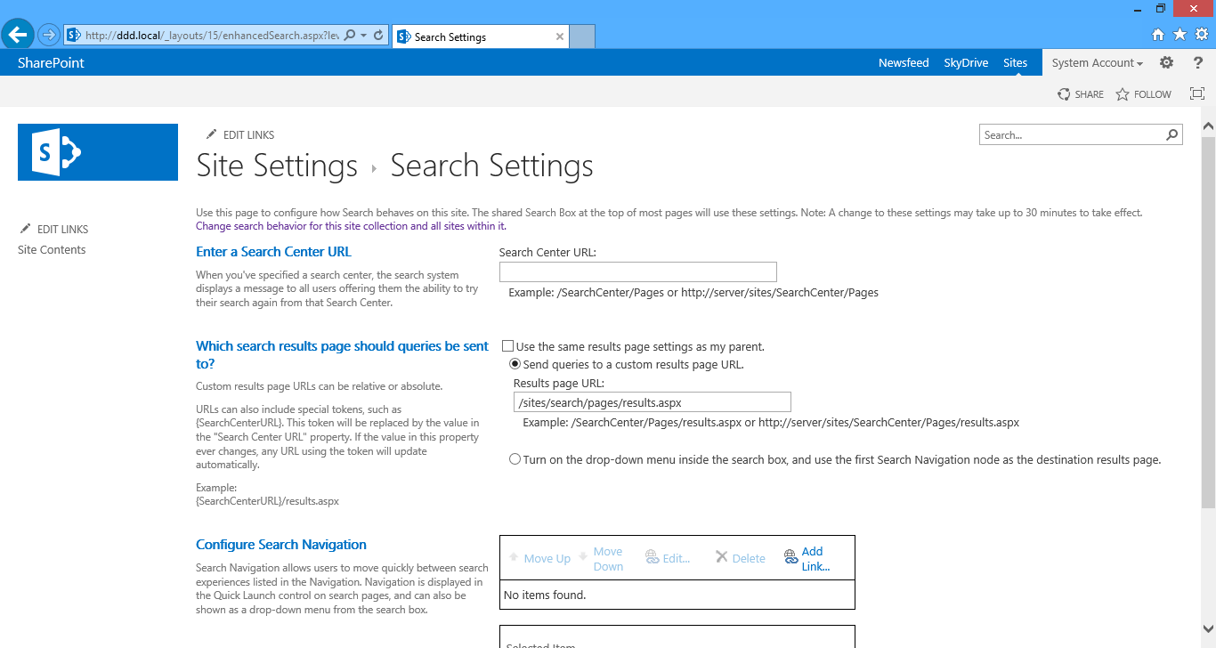 Viewing the site search settings